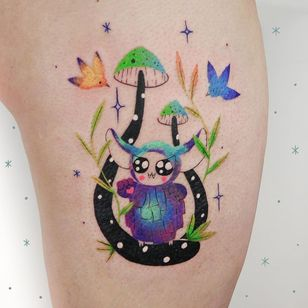 Cute tattoo by panna lew #pannalew #creature #cute #mushroom #bird #sparkle #color #nature #sexualassaultawarenesstattoo #sexualassaultsurvivortattoo #survivortattoo #tattoosforstrength #selflove #empoweringtattoos