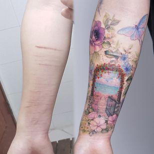 Self harm scar cover up tattoo by Tattooist Silo #TattooistSilo #heaven #garden #butterfly #flower #door #ocean #landscape #selfharmscarcoverup #coveruptattoo #scarcoverup #sexualassaultawarenesstattoo #sexualassaultsurvivortattoo #survivortattoo #tattoo