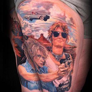 Color Realism tattoo by Kari Barba #KariBarba #realism #realistic #Illustrativerealism #thelmaandlouise #movie #film #color #car #gun #portraits #geenadavis #susansarandon