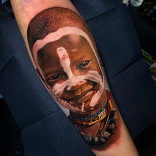 Realism portrait tattoo by Pablo Frias #PabloFrias #portrait #realism #africa