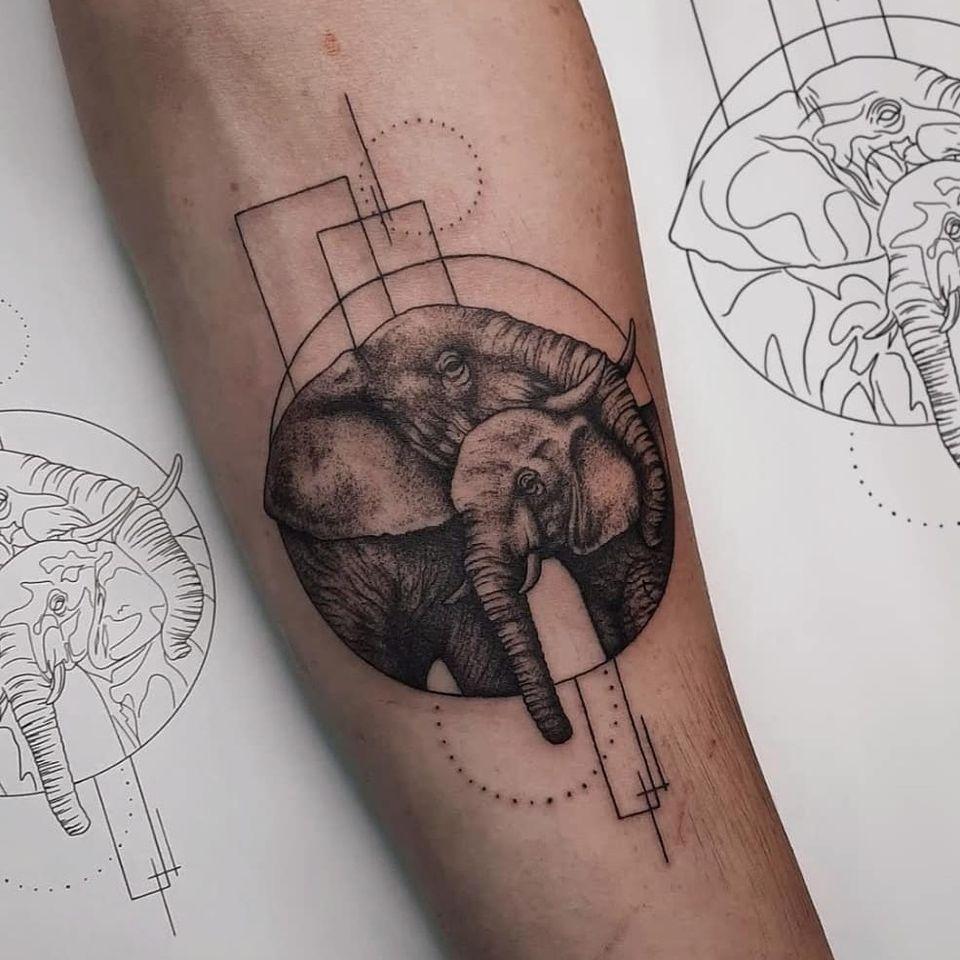 Elephant tattoo by Cause Chaos #CauseChaos #elephant #blackandgrey #fineline #dotwork #animal #africa