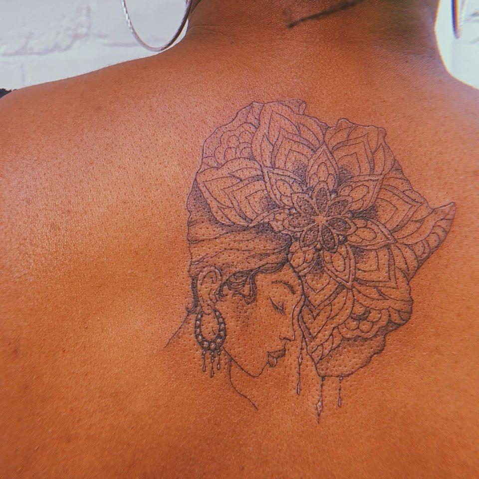African woman tattoo by Jade Chanel #JadeChanel #africa #african #portrait #fineline #mandala #femaleempowerment #backtattoo