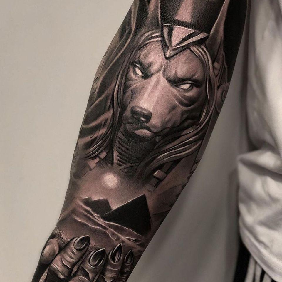 Egyptian tattoo by Castillo Dario #CastilloDario #egypt #pyramid #ankh #blackandgrey #anubis #sleeve