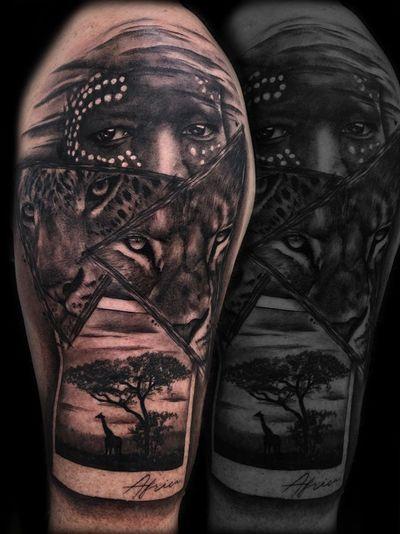 Africa tattoo by Carla Motjer #CarlaMotjer #portrait #realism #blackandgrey #landscape #leopard #lion #portrait #karotribe #karo #africa #african #polaroid