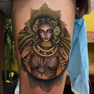 Oshun / Beyonce tattoo by Tammy Kim Tattoos #TammyKim #tammykimtattoos #oshun #beyonce #blackwoman #portrait #neotraditional