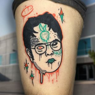 Trippy tattoo by Cosmo Cam #CosmoCam #trippy #surreal #weird #unique #color #psychedelic #cartoon #newschool #popculture #theoffice #dwightschrute #beets