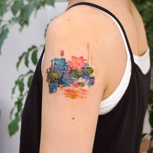 Watercolor tattoo by 9room #9room #watercolor #color #unique #nature #lotus #water #landscape #floral #flowers