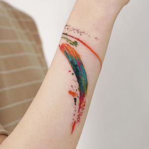 Watercolor tattoo by 9room #9room #watercolor #color #unique #nature #splash #paint #brushstroke