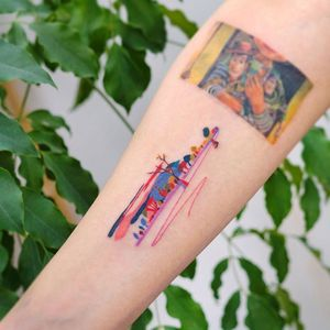 Watercolor tattoo by 9room #9room #watercolor #color #unique #nature #landscape #rainbow #mountains #trees