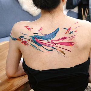 Watercolor tattoo by 9room #9room #watercolor #color #unique #nature #abstract #splash #water #brushstroke #splatter #paint