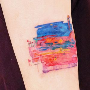 Watercolor tattoo by 9room #9room #watercolor #color #unique #nature #abstract #landscape #rainbow #trees #floral