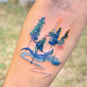 Watercolor tattoo by 9room #9room #watercolor #color #unique #nature #trees #landscape #water