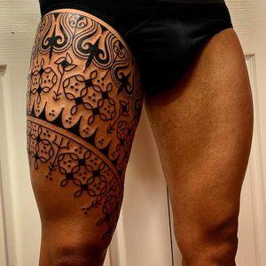Pattern work tattoo by Swasthik Iyengar aka Gunga Ma #SwasthikIyengar #GungaMa #color #traditional #Hindu #sacredsymbols #sacrediconography #thightattoo #pattern #linework #dotwork #trident