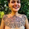 Pattern work tattoo by Swasthik Iyengar aka Gunga Ma #SwasthikIyengar #GungaMa #color #traditional #Hindu #sacredsymbols #sacrediconography #pattern #blackwork #folkart #floral #dotwork #linework