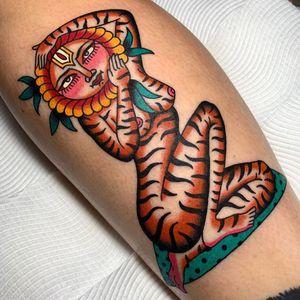 Tiger lady tattoo by Swasthik Iyengar aka Gunga Ma #SwasthikIyengar  #GungaMa #color #traditional #Hindu #sacredsymbols #sacrediconography #tiger #lady #surreal #floral