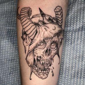 Dark art illustrative tattoo by Nate Burns aka revoltingworship #NateBurns #revoltingworship #darkart #illustrative