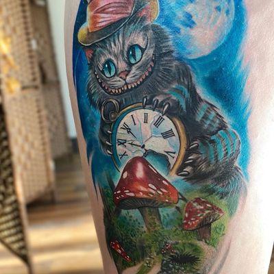Cheshire cat and clock tattoo by brandedredart #brandedredart #Cheshirecat #clock #aliceinwonderland #madhatterhat #hat #mushroom #moon