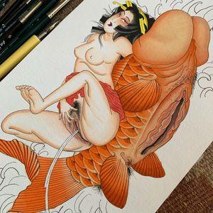 Shunga art by Alina Vives #AlinaVives #shungatattoo #shunga #erotictattoo #erotic #nsfw #japanesetattoo #japaneseinspired