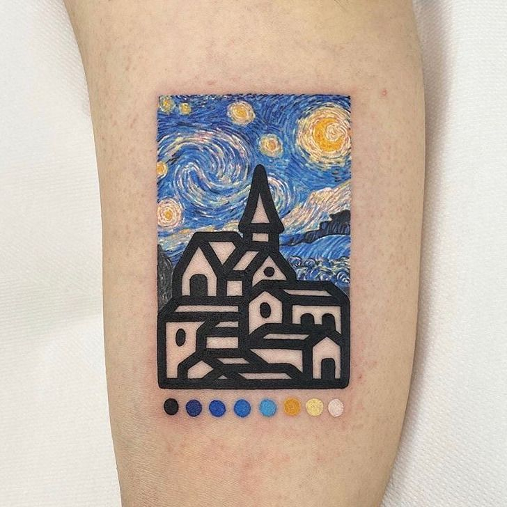 Awesome example of inspiration rather than reproduction...Van Gogh inspired tattoo by Mambo Tattooer #Mambo #MamboTattooer #VanGogh