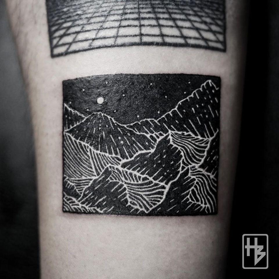 White Ink over Blackwork Tattoo by hb tattoo bkk #hbtattoobkk #whiteinkoverblackwork #whiteinkonblacktattoo #whiteonblack #whiteink #blackwork #blackout