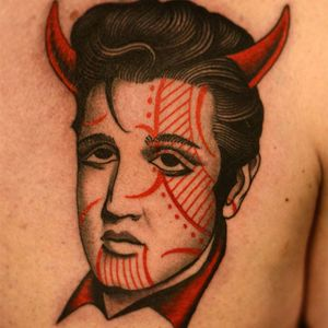 Tattoo by Marcelina Urbanska #MarcelinaUrbanska #neotraditional #traditional #illustrative #graphic #color #darkart #surreal #elvis #portrait #devil