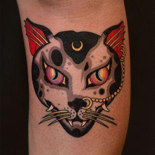 Tattoo by Marcelina Urbanska #MarcelinaUrbanska #neotraditional #traditional #illustrative #graphic #color #darkart #surreal #cat #japaneseinspired