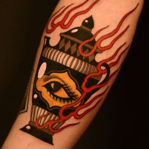 Tattoo by Marcelina Urbanska #MarcelinaUrbanska #neotraditional #traditional #illustrative #graphic #color #darkart #surreal #eye #vase #pottery #fire