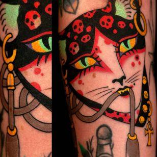 Tattoo by Marcelina Urbanska #MarcelinaUrbanska #neotraditional #traditional #illustrative #graphic #color #darkart #surreal #cat #skull