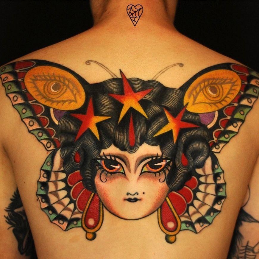 Tattoo by Marcelina Urbanska #MarcelinaUrbanska #neotraditional #traditional #illustrative #graphic #color #darkart #surreal #butterfly #ladyhead #eye #pattern #stars