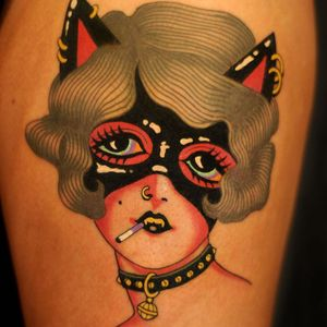 Tattoo by Marcelina Urbanska #MarcelinaUrbanska #neotraditional #traditional #illustrative #graphic #color #darkart #surreal #lady #ladyhead #portrait #cat #cigarette #mask #leather
