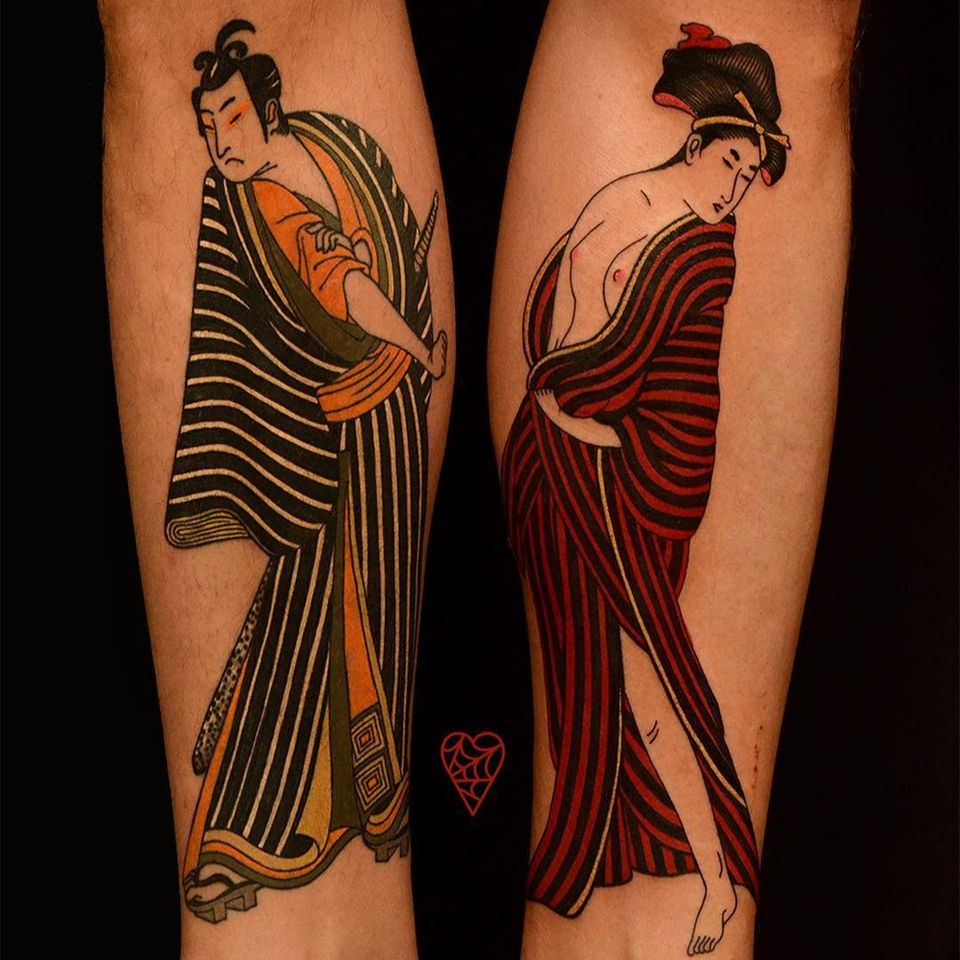 Tattoo by Marcelina Urbanska #MarcelinaUrbanska #japanese #graphic #color #darkart #surreal #samurai #geisha