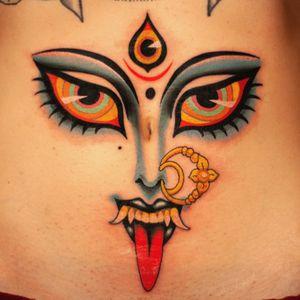 Tattoo by Marcelina Urbanska #MarcelinaUrbanska #neotraditional #traditional #illustrative #graphic #color #darkart #surreal #kali #eye #thirdeye #hindu #deity