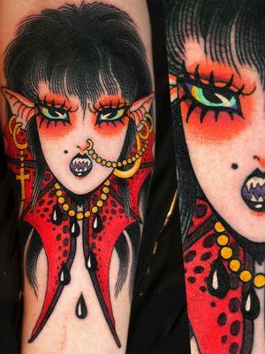 Tattoo by Marcelina Urbanska #MarcelinaUrbanska #neotraditional #traditional #illustrative #graphic #color #darkart #surreal #vampire #punk #portrait #batwings #cross