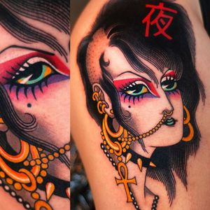 Tattoo by Marcelina Urbanska #MarcelinaUrbanska #neotraditional #traditional #illustrative #graphic #color #darkart #surreal #punk #ankh #letter #japaneseinspired