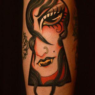 Tattoo by Marcelina Urbanska #MarcelinaUrbanska #neotraditional #traditional #illustrative #graphic #color #darkart #surreal #keyhole #portrait #vampire