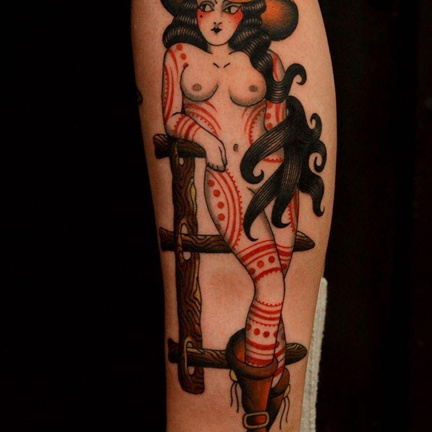 Tattoo by Marcelina Urbanska #MarcelinaUrbanska #neotraditional #traditional #illustrative #graphic #color #darkart #surreal #cowgirl #pinup