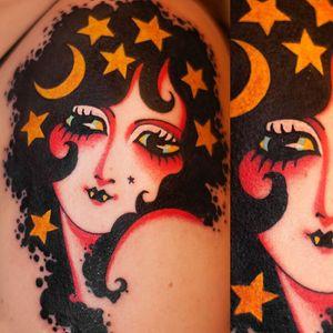 Tattoo by Marcelina Urbanska #MarcelinaUrbanska #neotraditional #traditional #illustrative #graphic #color #darkart #surreal #portrait #vampire #stars #moon
