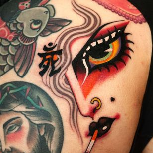 Tattoo by Marcelina Urbanska #MarcelinaUrbanska #neotraditional #traditional #illustrative #graphic #color #darkart #surreal #eye #portrait #letter #japaneseinspired #smoke #cigarette