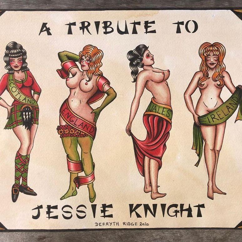 Tribute to Jessie Knight by Derryth Ridge #DerrythRidge #JessieKnight #tattooflash #pinup