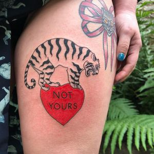 Illustrative tattoo by Mab Matiere Noire #MabMatiereNoire #illustrative #linework #nature #expressive #tiger #heart #notyours