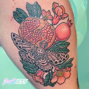 Tattoo by Debbi Snax #DebbiSnax #illustrative #deathmoth #moth #fruit #flower #pomegranate #insect #nature #plant