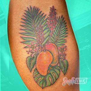Tattoo by Debbi Snax #DebbiSnax #illustrative #mango #plant #fruit #food #color #leaves #palm #tattoosondarkskin #colortattoosondarkskin
