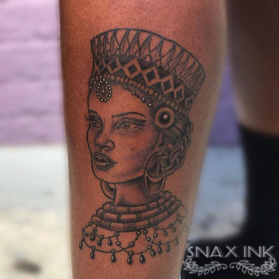 Tattoo by Debbi Snax #DebbiSnax #illustrative #portrait #ladyhead #crown #pearls #gems #ornamental #blackqueen #blackgoddess #tattoosondarkskin
