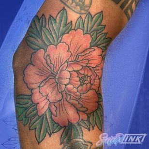 Tattoo by Debbi Snax #DebbiSnax #illustrative #peony #flower #japaneseinspired #color #tattoosondarkskin #colortattoosondarkskin