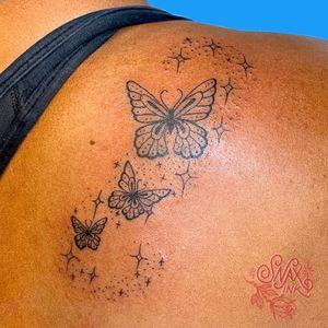Tattoo by Debbi Snax #DebbiSnax #illustrative #butterly #insect #sparkle #stars #tattoosondarkskin