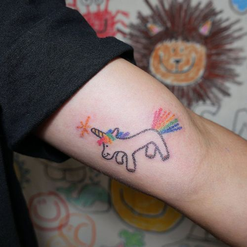 Crayon tattoo by Mello #Mello #Mellowhatever #crayontattoo #childdrawing #childlike #fun #cute #koreanartist #seoultattoo #animal #love #unicorn #rainbow