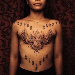 Tattoo by Jaya Suartika aka Jayaism #JayaSuartika #Jayaism #patternwork #pattern #tribal #ornamental #blackwork #leaves #scarcoverup