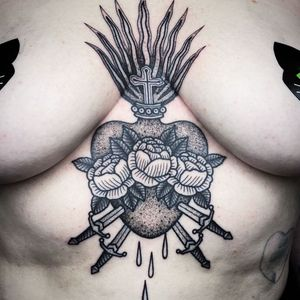 Sacred heart tattoo by witchhousetattoo #witchhousetattoo #sacredheart #illustrative #linework #fire #cross #roses