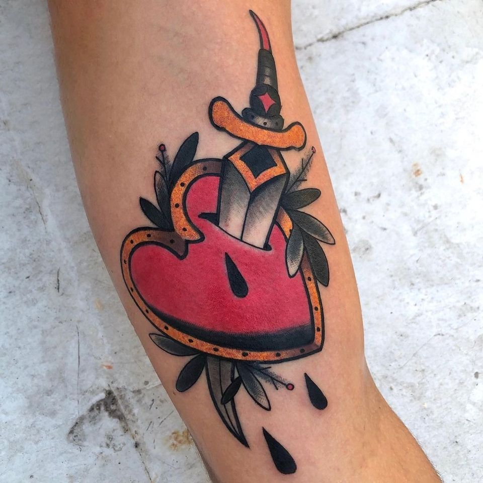 Sacred heart tattoo by Jay B Tattoo #JayBTattoo #JayB #sacredheart #dagger #blood #leaves