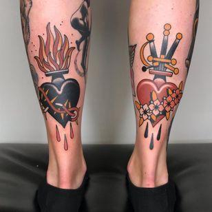 Sacred heart tattoos by Daniel Gensch #DanielGensch #sacredheart #dagger #fire #thorn #rose